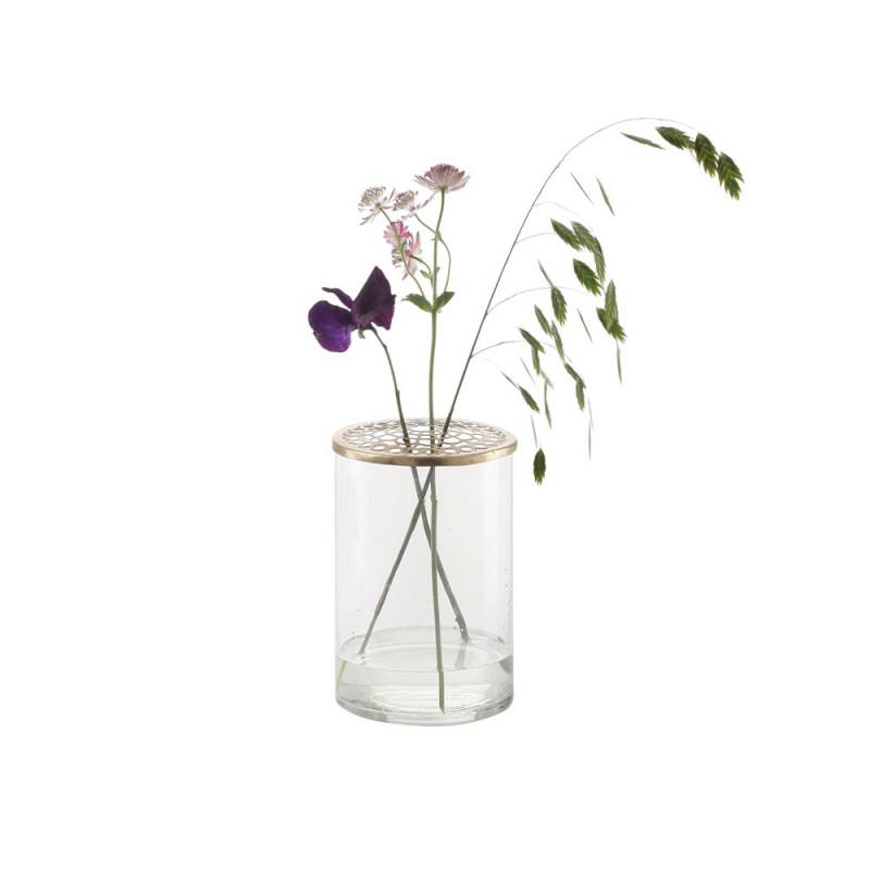 A simple Mess Vase Kassandra Glas mit Deckel gold 10 cm Durchmesser