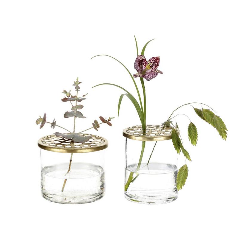 A Simple Mess Vase Kastanje 2er Set aus Glas mit Blumen