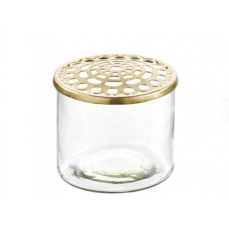 A Simple Mess Vase Kastanje Glas Metall gold Blumenvase 7,5x8 cm