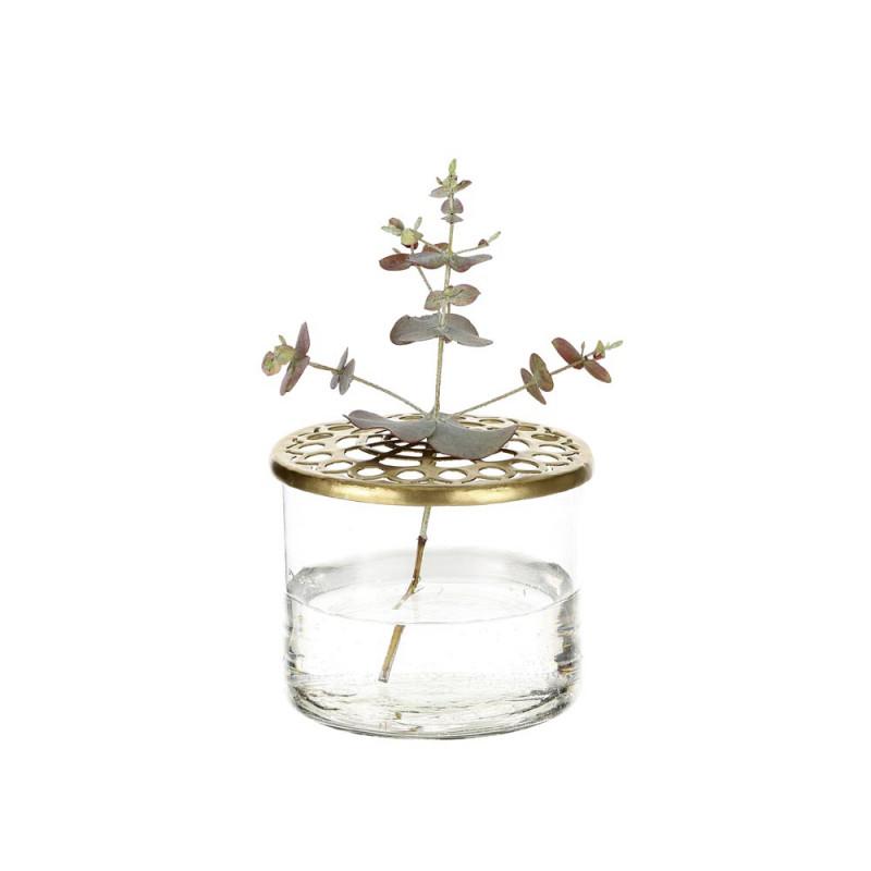 A simple Mess Vase Kastanje Glass mit Metall deckel gold 8 cm Durchmesser