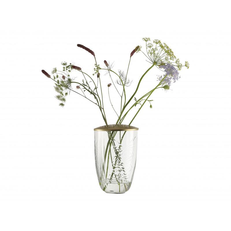 A simple Mess Vase Katalin Glas mit Deckel Metall gold Blumenvase 21 cm groß