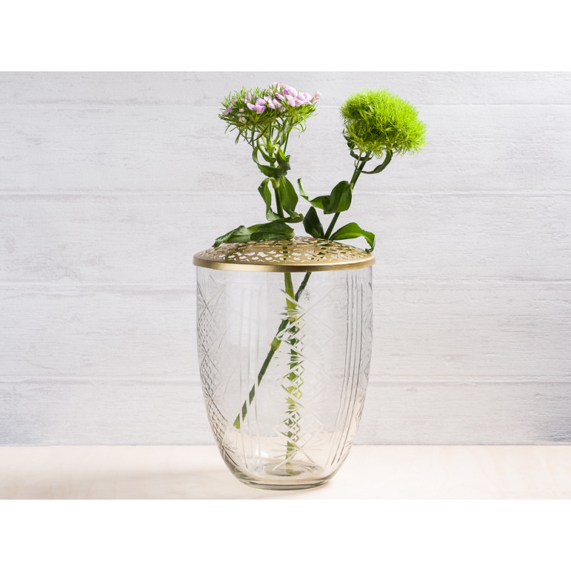 A simple Mess Vase Katalin Glas mit Deckel Metall gold Blumenvase 21 cm hoch Deko Design für eine Blume Bartnelke Spring