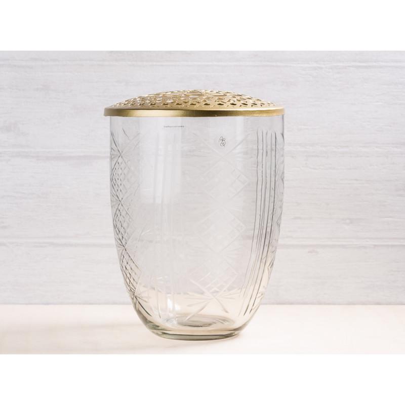 A simple Mess Vase Katalin Glas mit Deckel Metall gold Blumenvase 21 cm hoch Deko Design für eine Blume