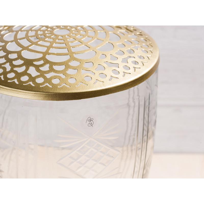 A simple Mess Vase Katalin Glas mit Deckel Metall gold Blumenvase Design Detail