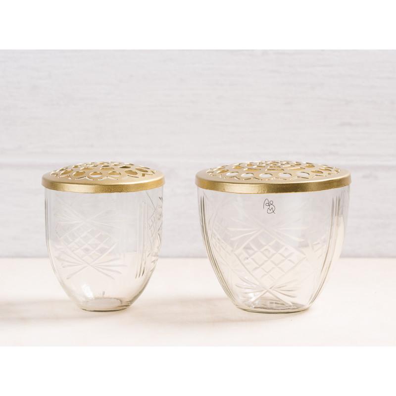 A simple Mess Vase Kehl Glas mit Deckel Metall gold Blumenvase 2er Set Deko Design für eine Blume