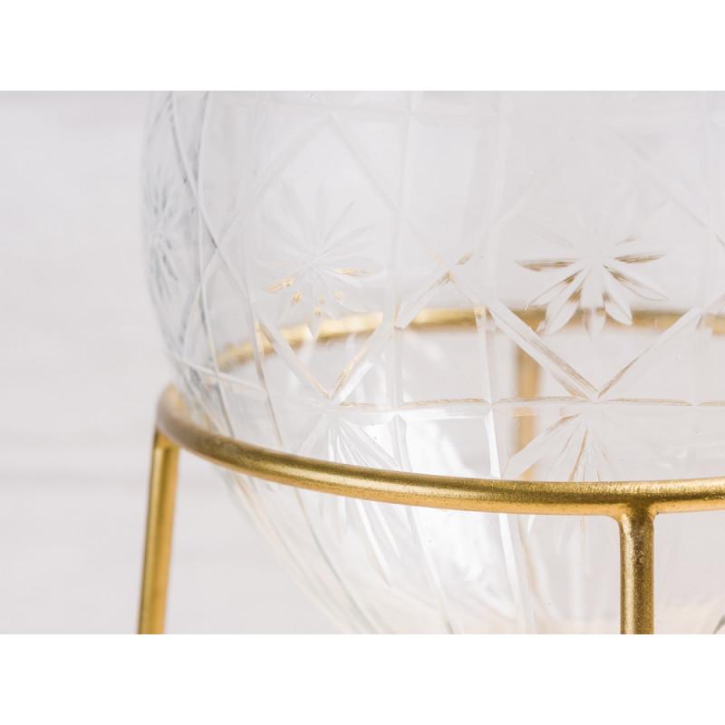 A simple Mess Vase Ronda Glas mit Ständer aus Metall Blumenvase mit Gravur Design Detail mit Gravur