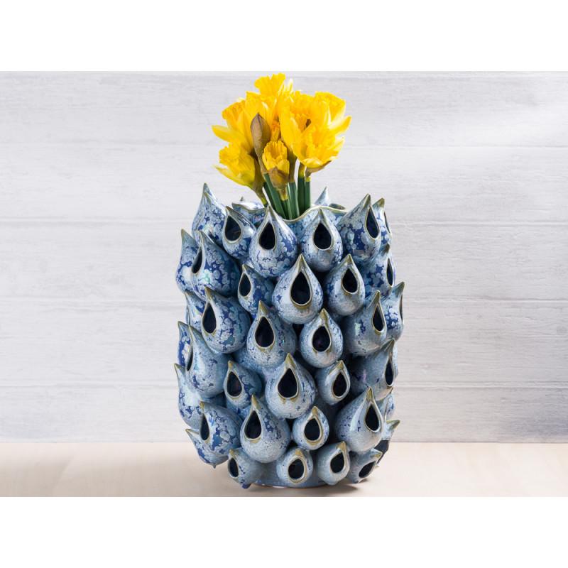 A simple Mess Vase Ryst blau Keramik 30 cm groß Unikat in Handarbeit Modern mit Narzissen Frühling