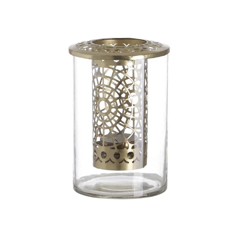 A simple Mess Windlicht Kathrina Glass Metal gold Teelichthalter