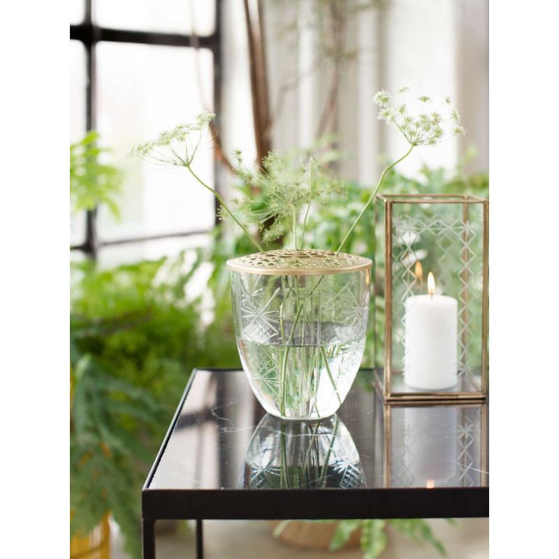 A simple Vase Kari Glas mit Deckel Metall gold Blumenvase 15 cm