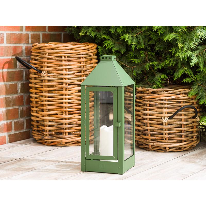 A2 Living Allwetter Laterne Maxi Grün wetterfeste Outdoor Laterne verzinkt und pulverbeschichtet rostfrei 60 cm hoch skandinavisch schlicht Dekoration