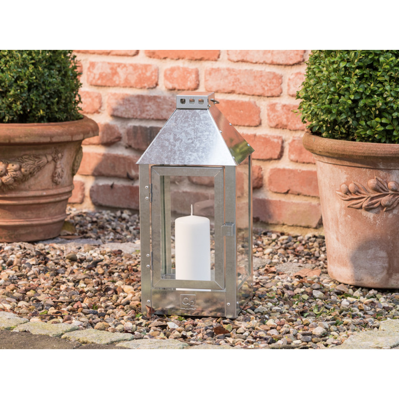 A2 Living Allwetter Laterne Midi verzinkt 42 cm aus Metall für Garten und Terrasse