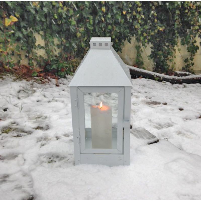 a2 living allwetter laterne midi wei pulverbeschichtet wetterfeste outdoor metall laterne. Black Bedroom Furniture Sets. Home Design Ideas