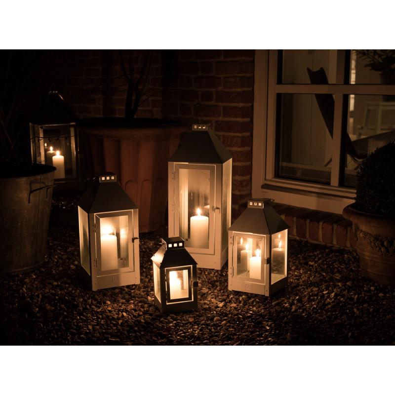 A2 Living Allwetter Outdoor Laterne weiß pulverbeschichtet beleuchtet draußen im Garten