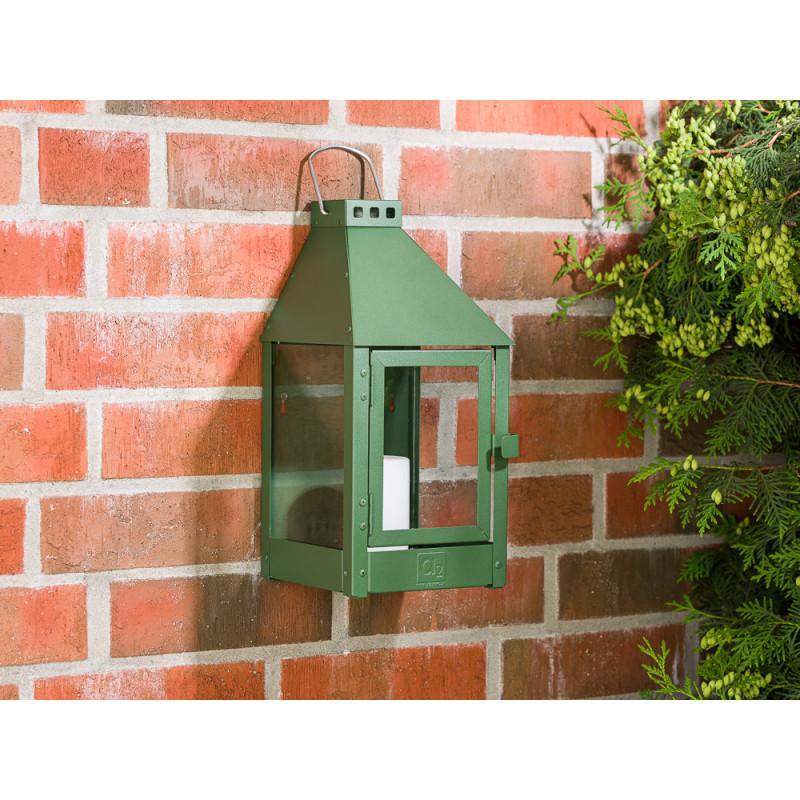 A2 Living Allwetter Wandlaterne Mini Grün wetterfeste Outdoor Laterne verzinkt und pulverbeschichtet rostfrei 36 cm hoch skandinavisch schlicht Dekoration