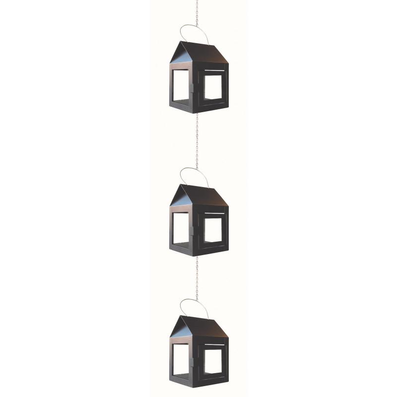 A2 Living Hängelaterne Schwarz Matt 3er Set Mini Laterne für Teelicht mit Kette A2 Produkt Nr 40083