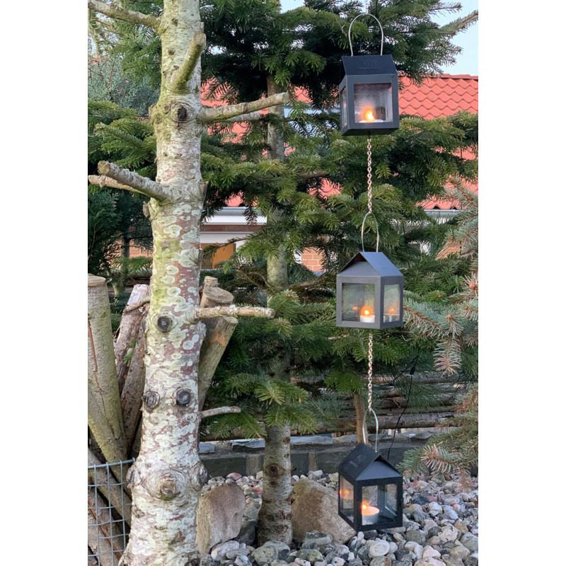 A2 Living Hängelaterne Schwarz Matt 3er Set Mini Laterne für Teelicht mit Kette Deko zum hängen an Baum