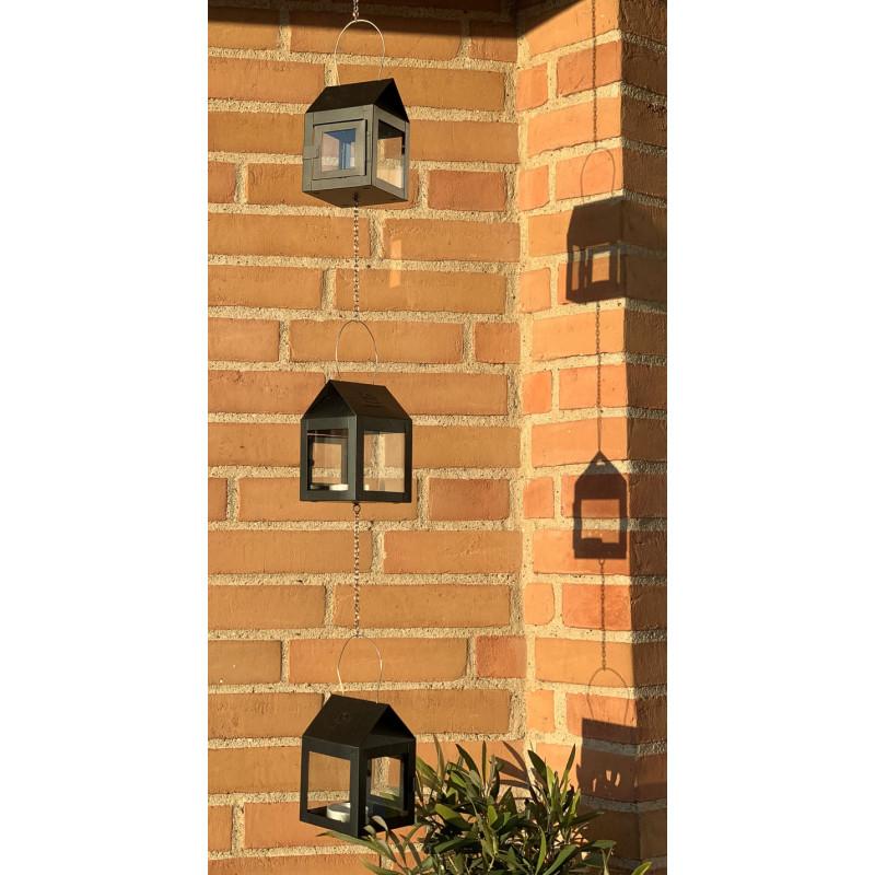 A2 Living Hängelaterne Schwarz Matt 3er Set Mini Laterne für Teelicht mit Kette Dekoration draußen am Haus