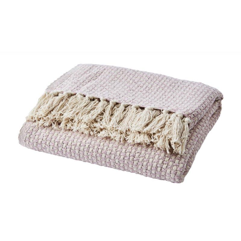 Affari Decke ANNA Rosa mit Fransen aus Baumwolle recycelt Wolldecke Affari Produkt Nummer 070-545-45