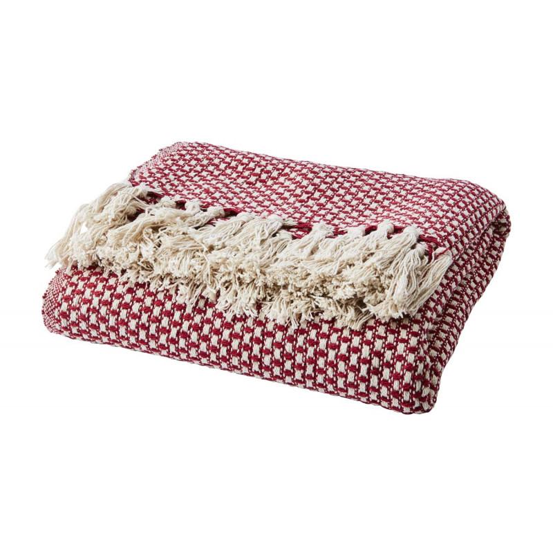 Affari Decke ANNA Rot mit Fransen aus Baumwolle receycelt Wolldecke Affari Produkt Nummer 070-545-30