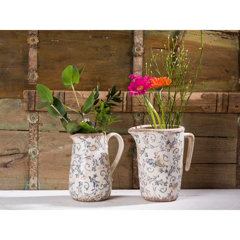 Affari Kanne und Krug Victoria grau weiß Steingut Vintage Deko aus Schweden mit Blumen Online Shop deutsch