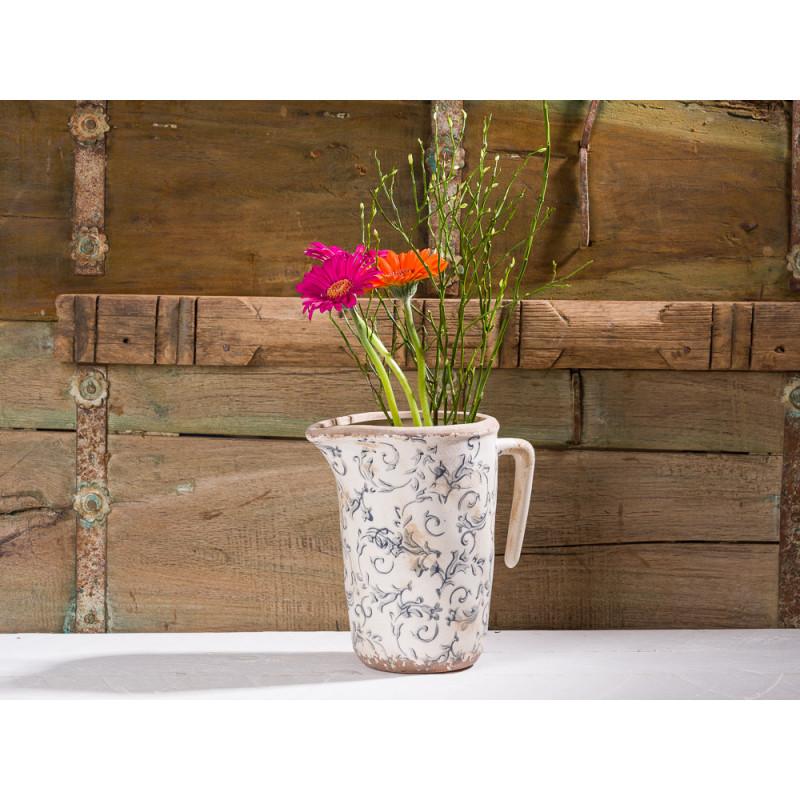 Affari Kanne Victoria grau weiß Steingut Krug mit Zweigen und Blume