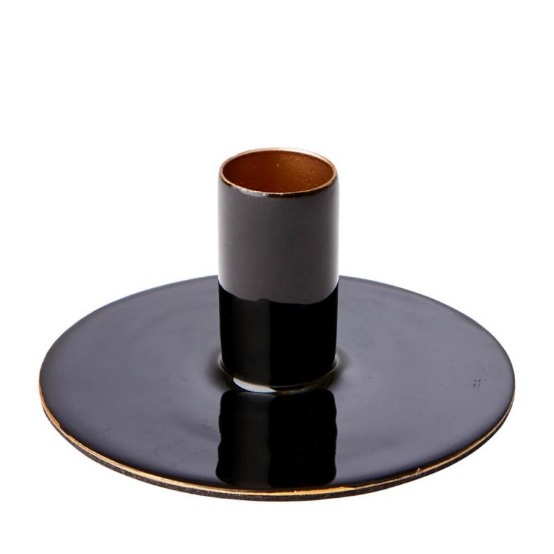 Affari Kerzenhalter RIVER Schwarz Kerzenständer aus Metall Rund 10 cm für 1 Kerze Affari of Sweden Modell Nummer 797-263-60