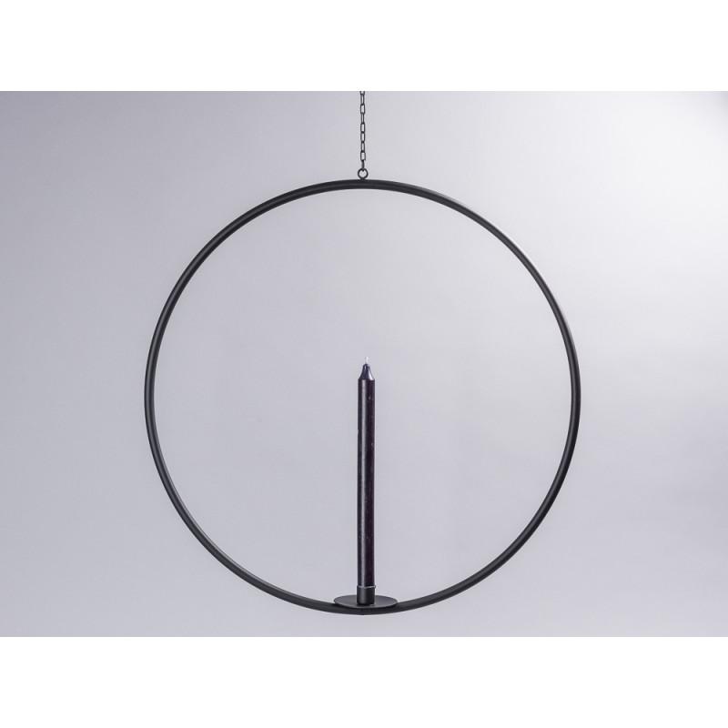 Affari of Sweden Kerzenhalter Hänger Axel groß rund aus Metall in schwarz mit Kette Durchmesser 55 cm