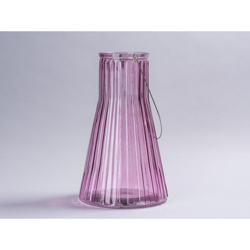 Affari of Sweden Windlicht Laterne Anja rosa groß konische form aus Glas Deko nu