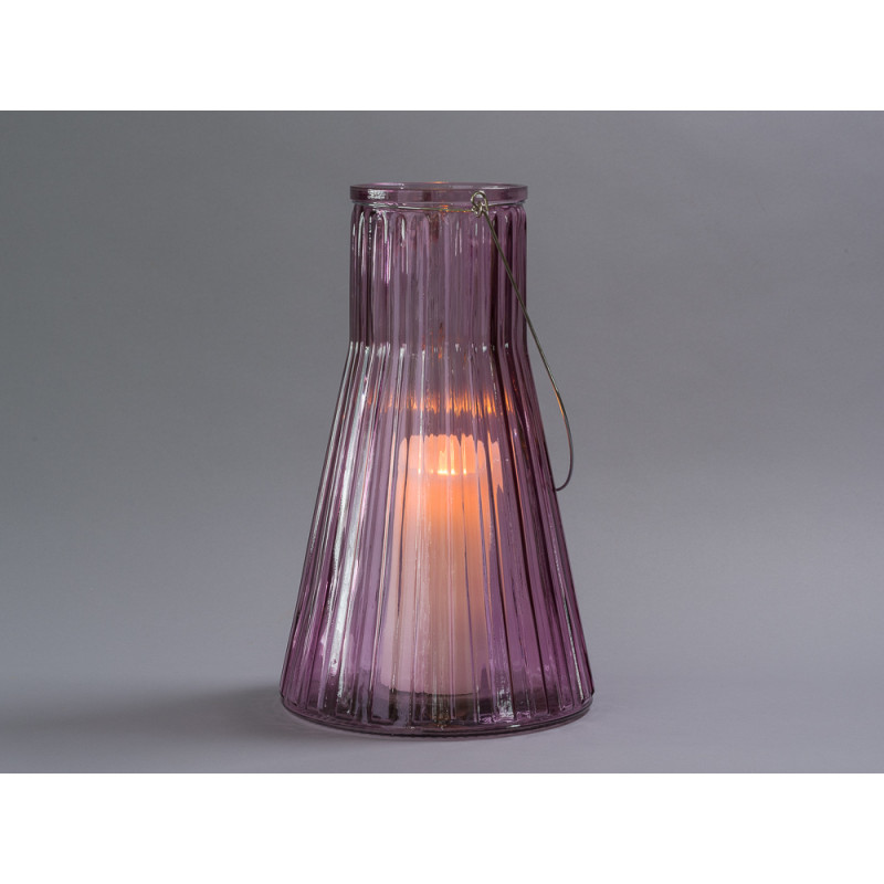 Affari of Sweden Windlicht Laterne Anja rosa groß rund aus Glas für Kerzen