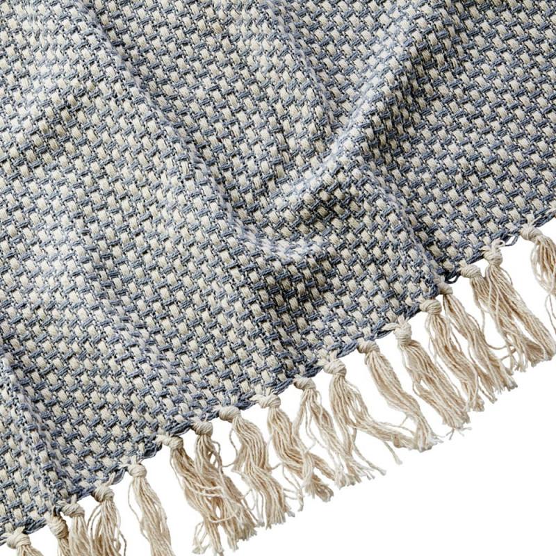 Affari Schweden Wolldecke ANNA Grau Decke mit Fransen aus Baumwolle Muster Material und Farbe Grau im Detail