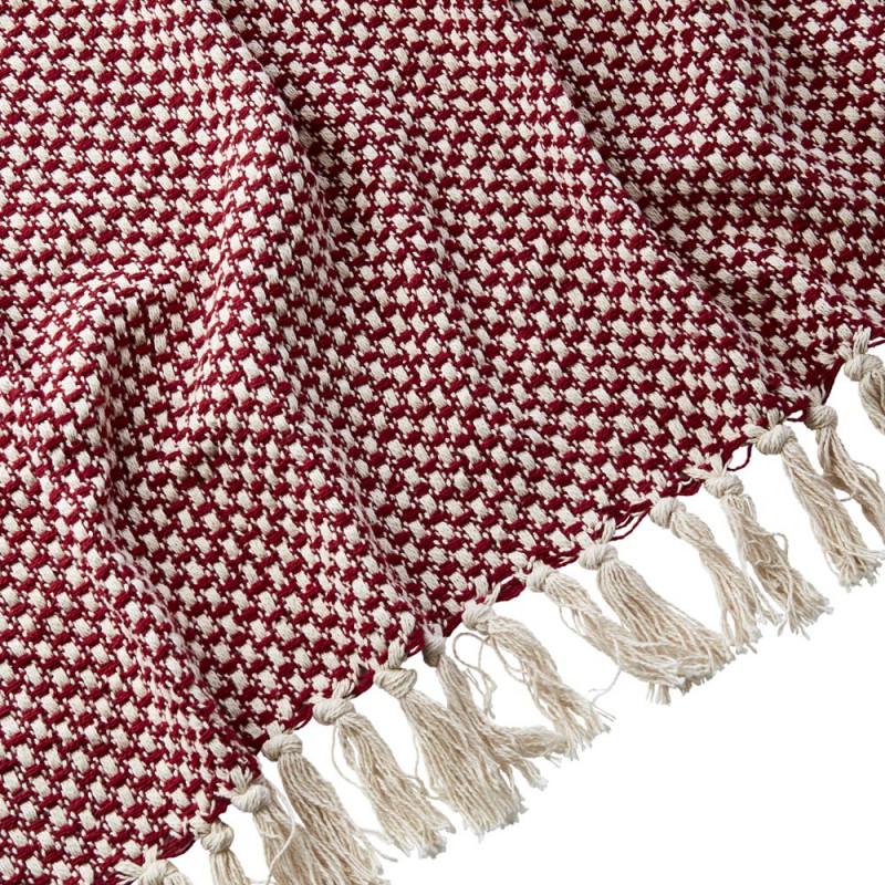 Affari Schweden Wolldecke ANNA Rote Decke mit Fransen aus Baumwolle Muster Material und Farbe Rot im Detail