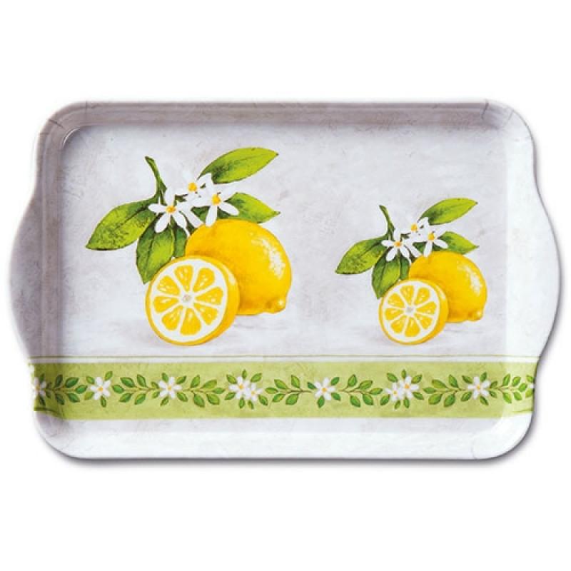 ambiente serviertablett lemon branche tablett mit gelben zitronen und wei en blumen aus. Black Bedroom Furniture Sets. Home Design Ideas