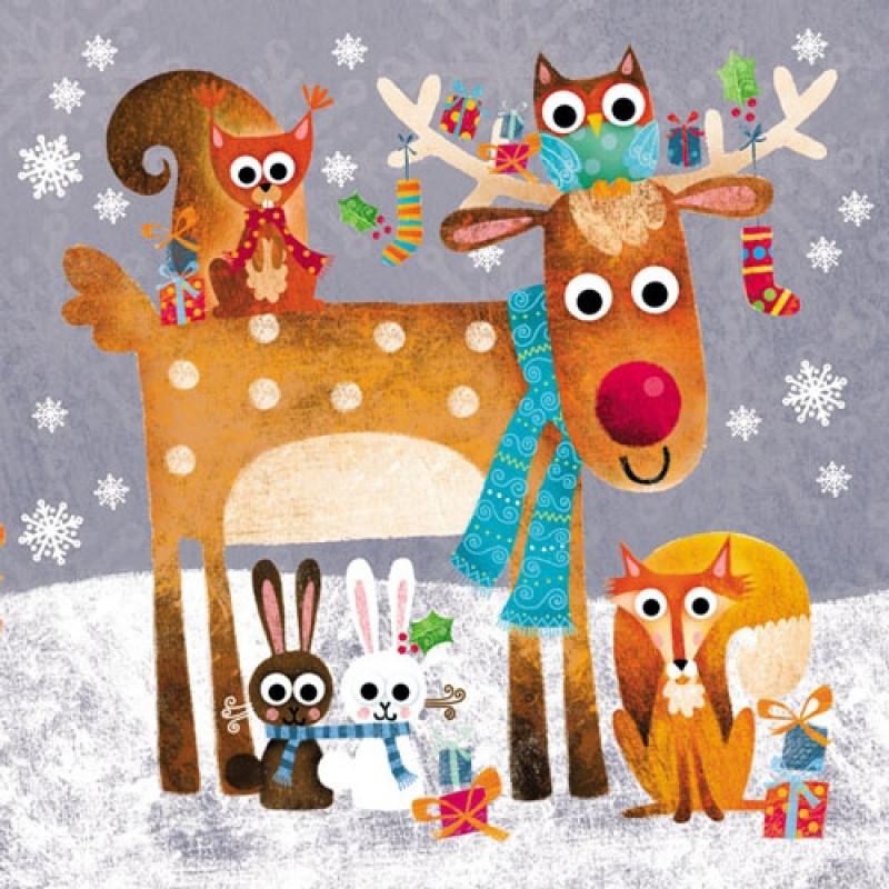 Ambiente Weihnachts Servietten Funny Animals lustige Tiere im Schnee Weihnachten