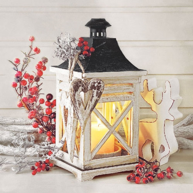 ambiente servietten lantern wei e laterne mit kerze rote. Black Bedroom Furniture Sets. Home Design Ideas