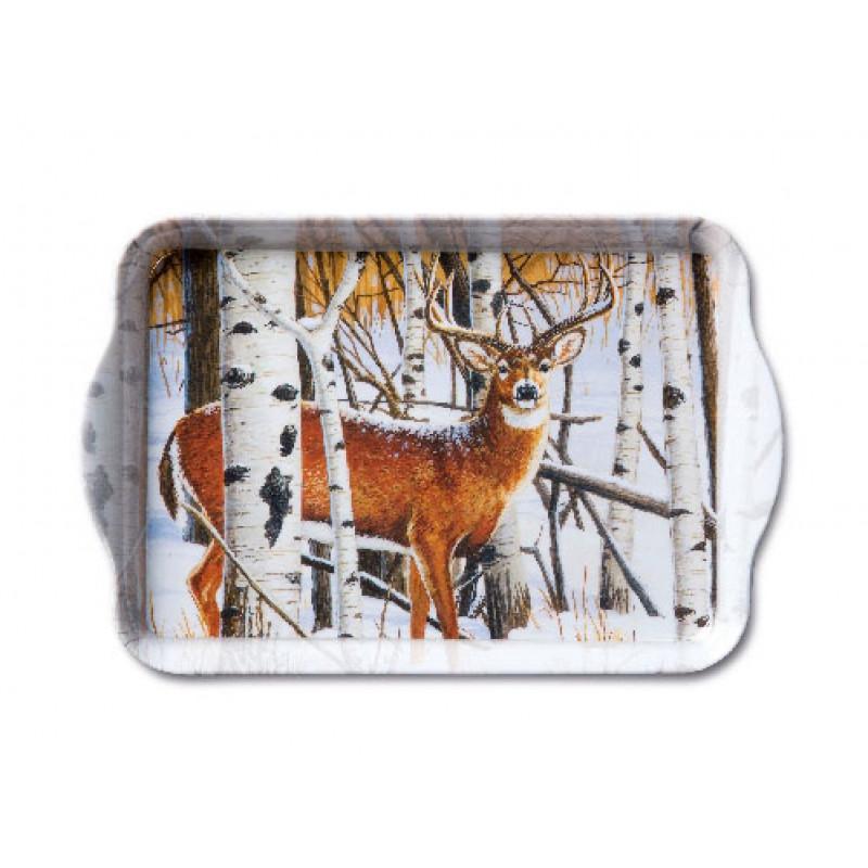 Ambiente Weihnachts Tablett Melamin Deer in forest Hirsch im Wald Weihnachten