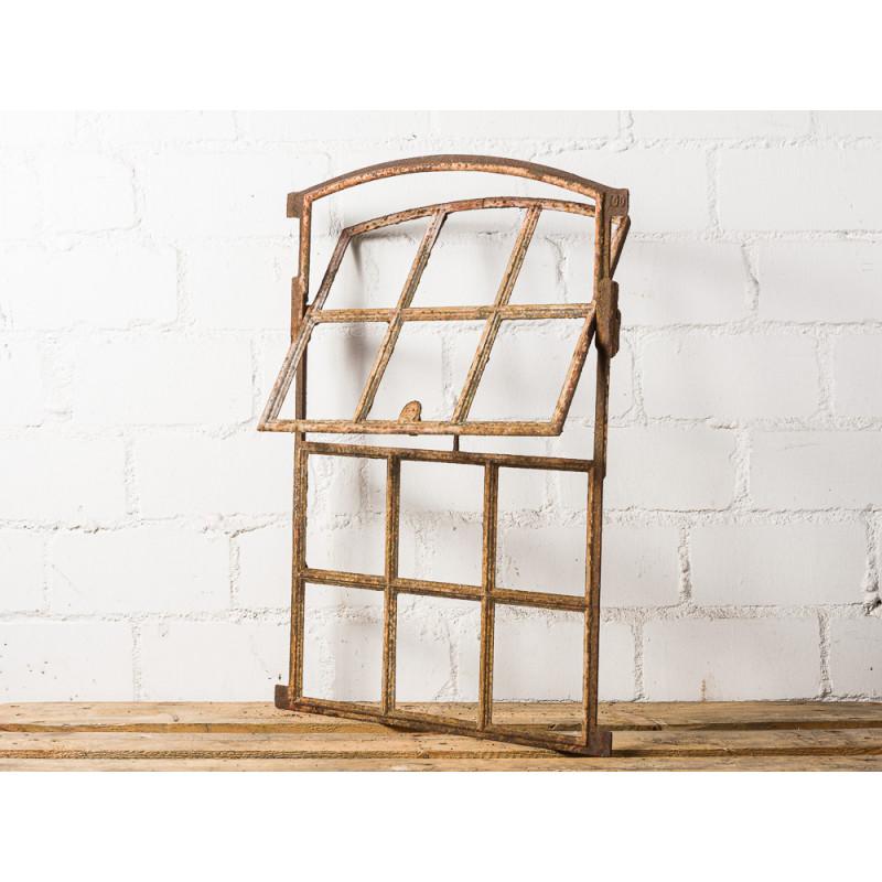 Antikes Stallfenster zum Aufklappen Sprossenfenster mit 12 Sprossen Kippbar Metall Fenster mit Rundbogen 51x73 cm groß