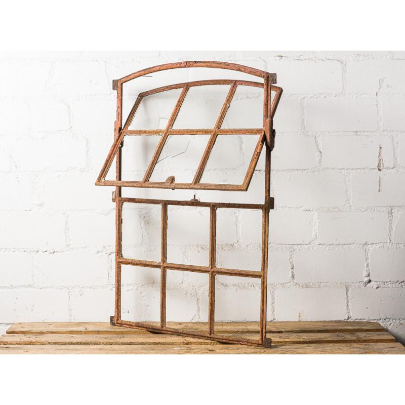 Antikes Stallfenster zum Öffnen Sprossenfenster mit 12 Sprossen Kippbar Metall Fenster mit Rundbogen 60x84 cm groß