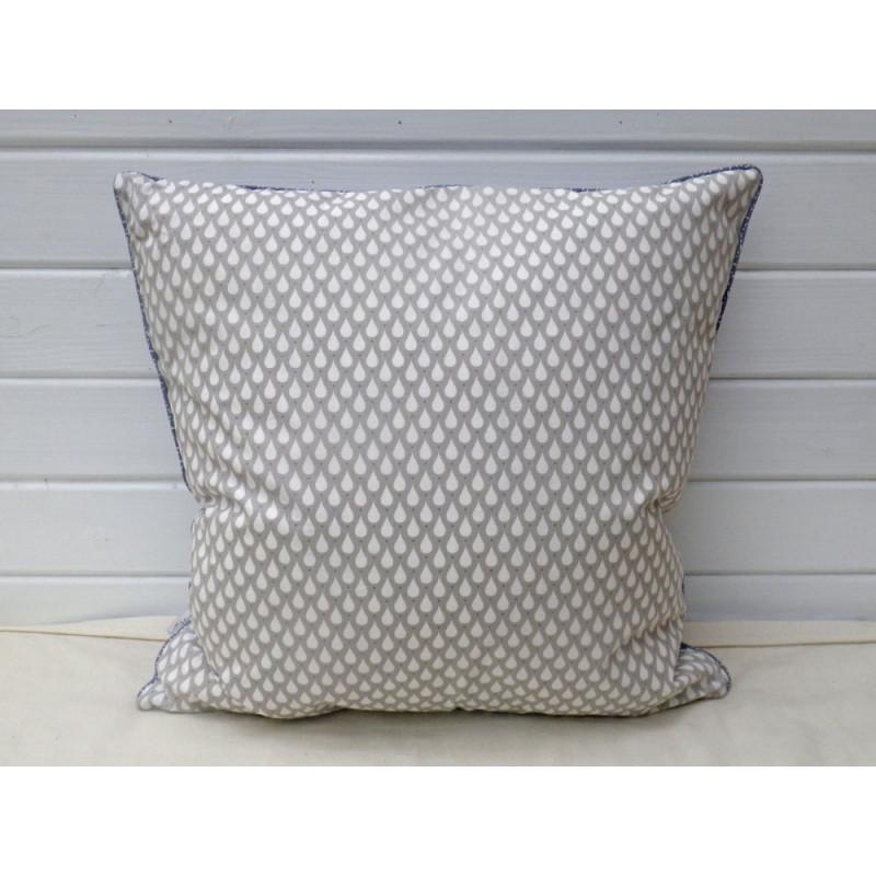a u maison kissen taupe tropfen design tauben blau gemustert beidseitig nutzbares kissen. Black Bedroom Furniture Sets. Home Design Ideas