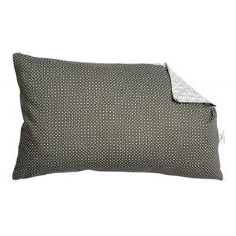 AU Maison Kissen dunkelgrau Punkte Hellgrau gemustert aus Baumwolle im Querformat mit Füllung dänisches Design hergestellt in Europa 30x50 cm