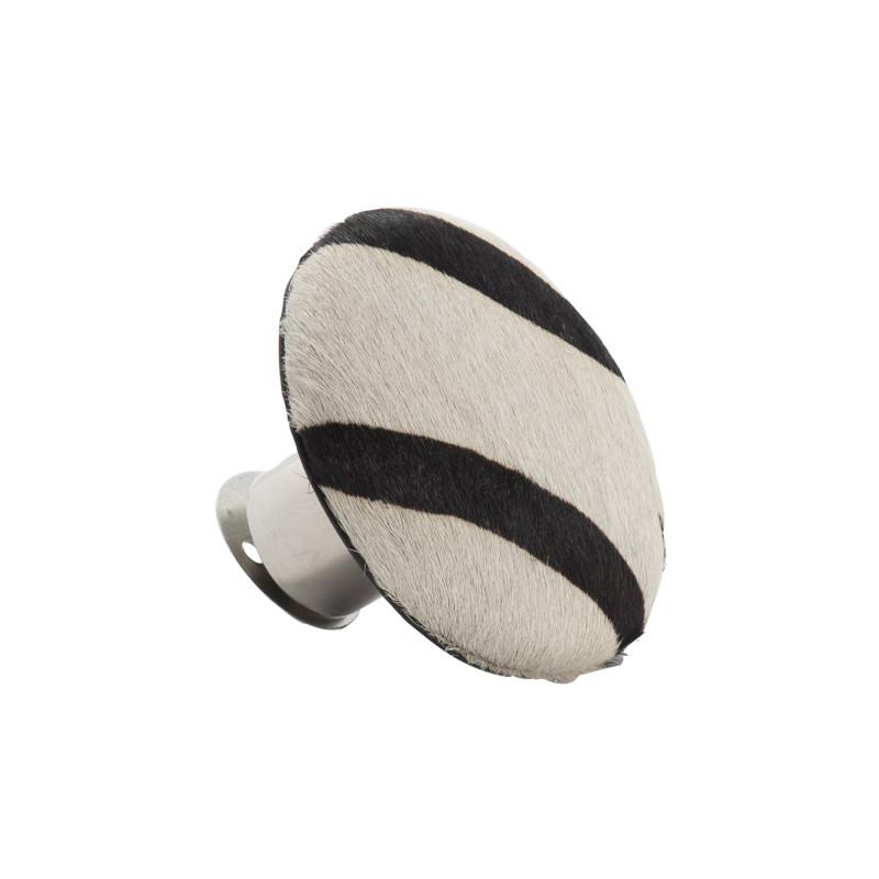 AU Maison Kleiderhaken Zebra Fell Optik runder Garderobenhaken schwarz weiß Art Deko Stil 9 cm
