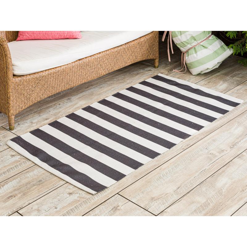 AU Maison Outdoor Teppich Streifen schwarz weiß Badematte gestreift 70x140 Läufer für Balkon und draußen waschbar für aus PET recycelt Kunststoff
