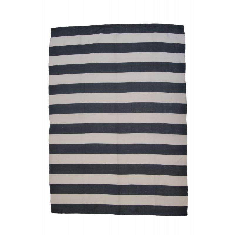 AU Maison Outdoor Teppich Streifen schwarz weiß Badematte gestreift 70x140 waschbar Läufer getreift aus PET recycelt Kunststoff