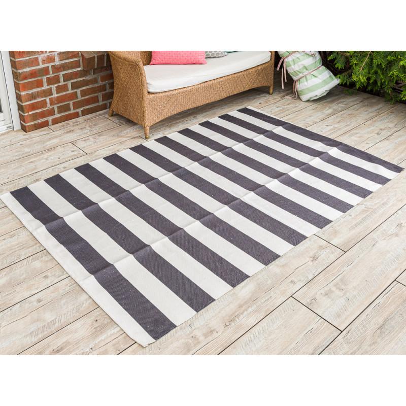 AU Maison Outdoor Teppich XXL Streifen schwarz weiß Badematte gestreift 140x200 waschbar für draussen aus PET recycelt Kunststoff