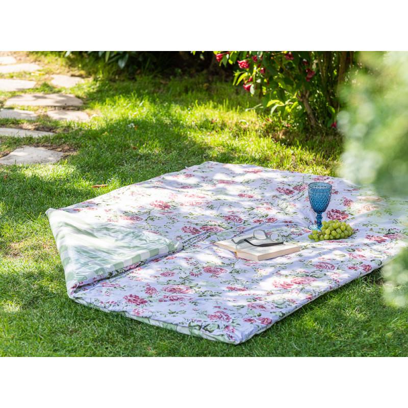 AU Maison Picknickdecke 140x180 groß Türkis Grün Blockstreifen Blumen Baumwolle Wachstuch Sophia Giant Stripe Dusty Violet Mint Outdoor im Garten