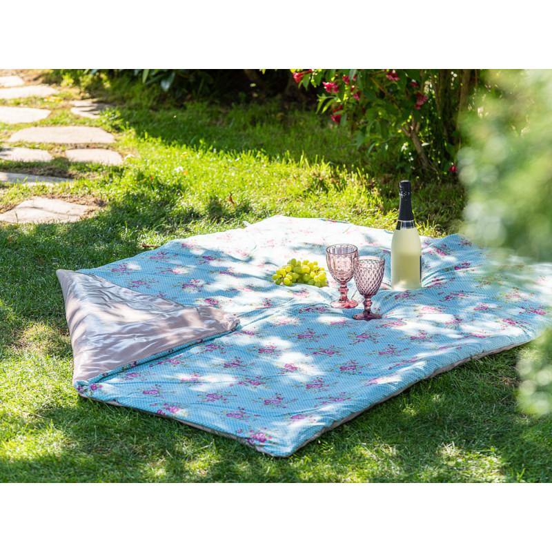 AU Maison Picknickdecke 140x180 gross Türkis Punkte Blume Streifen Rosa Baumwolle Wachstuch Aqua Sky Woodrose Outdoor im Garten