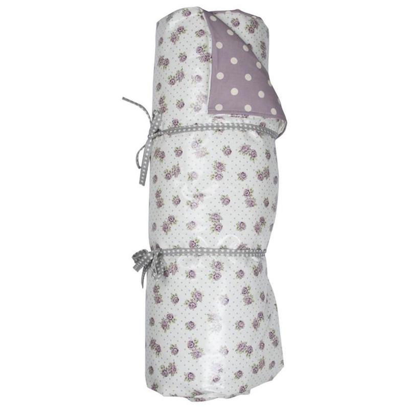 AU Maison Picknickdecke Victoria weiß Blumen und Punkte lila Neu 70x180 cm Krabbeldecke wasserdicht