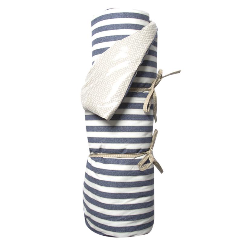 AU Maison Picknickdecke XL Blau Weiß gestreift Braun Muster Baumwolle Wachstuch Raya Infinity Twilight Blue Toffee wasserabweisend Krabbeldecke 140x180