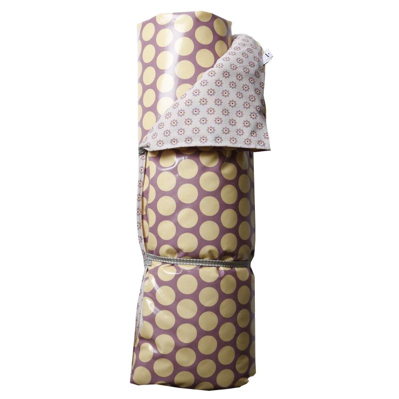 AU Maison Picknickdecke XL Gelb Punkte Lila Baumwolle Wachstuch Twiggy Super Dot Dusty Violet Lavender wasserabweisend Krabbeldecke 140x180