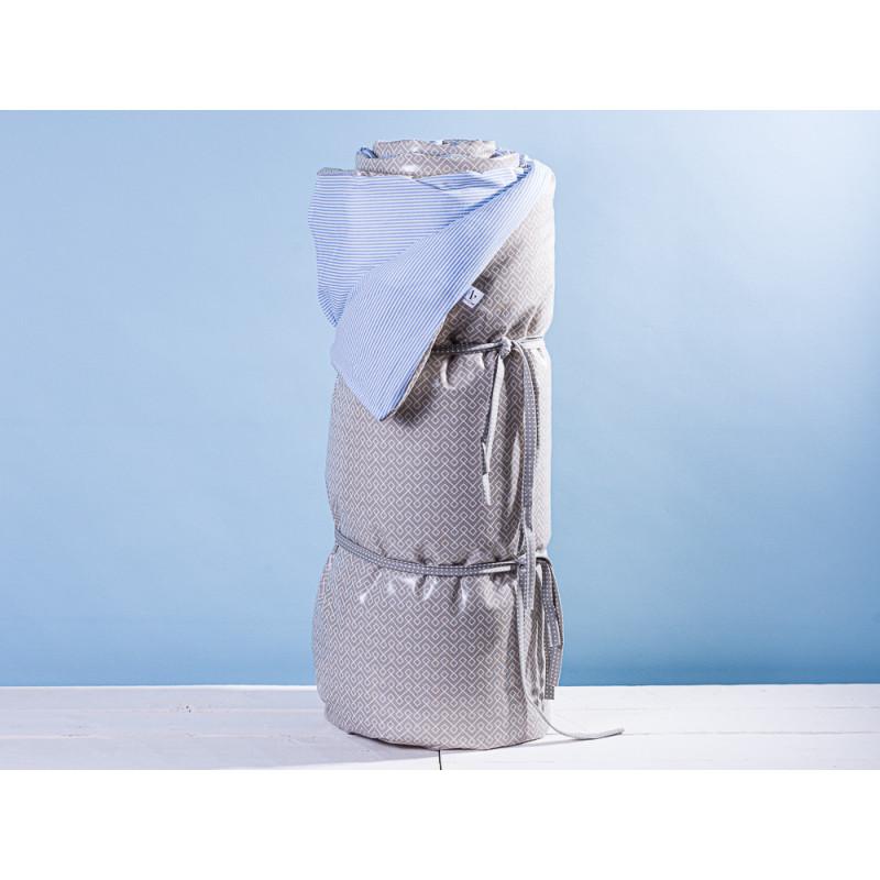 AU Maison Picknickdecke XL Krabbeldecke 140x180 groß Blau Weiß Streifen Braun Baumwolle Wachstuch Stripe Infinity French Blue Toffee wasserabweisend