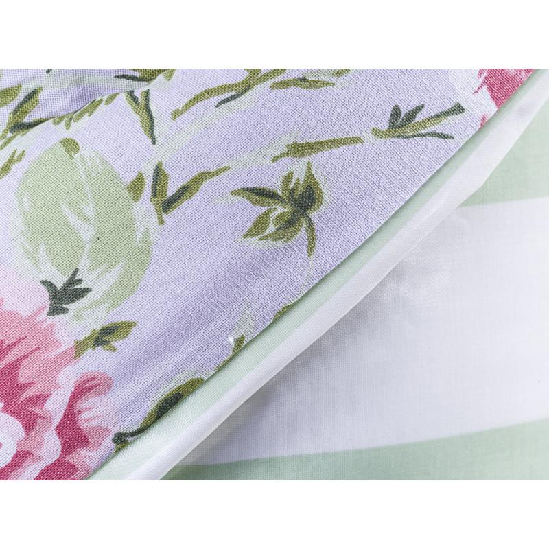 AU Maison Picknickdecke XL Krabbeldecke 140x180 groß Türkis Grün Blockstreifen Blumen Baumwolle Wachstuch Sophia Giant Stripe Dusty Violet Mint wasserabweisend Detail
